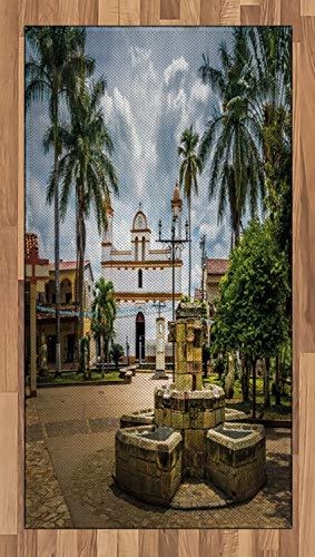 ABAKUHAUS Reise Teppich, Maya-Stadt mit Palmen, Deko-Teppich Digitaldruck, Färben mit langfristigen Halt, 80 x 150 cm, Mehrfarbig
