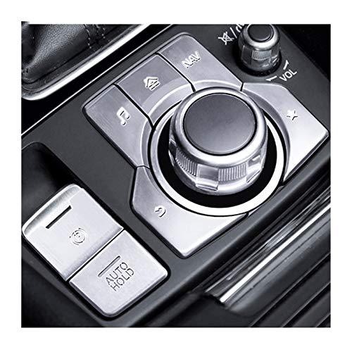 para Mazda Axela 3 CX-4 CX-5 LHD Car Styling Freno De Mano del Freno De Estacionamiento Bloqueo AUTOMÁTICO Y Botón De Ajuste Cubierta De La Etiqueta Engomada Multimedia (Color : 7pcs Plata)