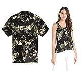 Couple Matching Hawaiian Luau Outfit Aloha Shirt and Tank Top in Palm Green in Black Men XL Women 2XL