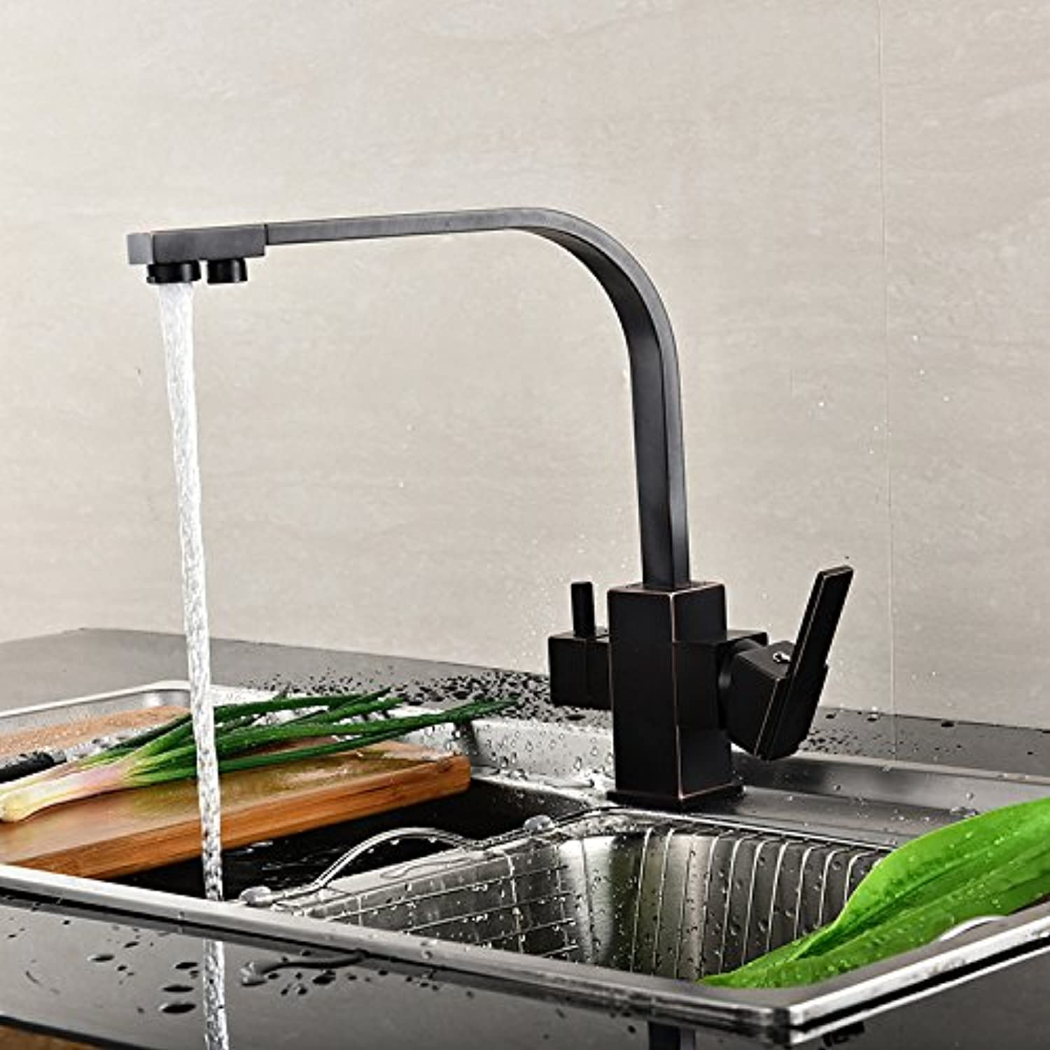 Bijjaladeva Antique Kitchen Sink Mixer Tap Kitchen Faucet 3 with Pure Water Kitchen Faucet Single-Mixing faucets Home Kitchen Sponge Packaging The Water Inlet Pipe