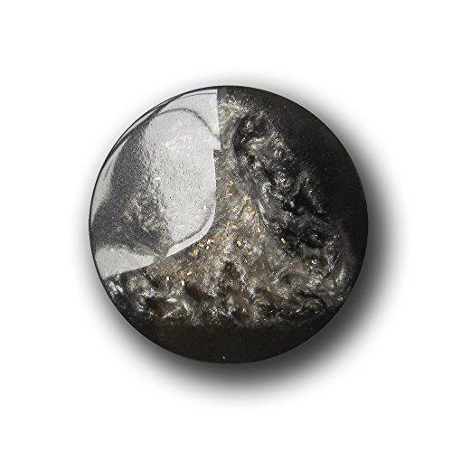 Knopfparadies - 5er Set extravagante Knöpfe mit pyramidenförmiger Wölbung und Gold Glitzer/schwarz, perlmuttartig Silbergrau/Kunststoff/Ø ca. 23mm