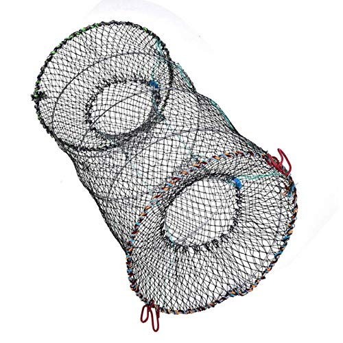 Red de pesca, red cilíndrica plegable para langosta, trampa para camarones, trampa...