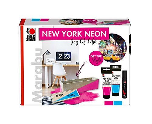 Marabu 1266000000080 - Fluoreszierende Schwarzlichtfarbe im Set, New York Neon Joy of Life, auf Wasserbasis, lichtecht, wetterfest, schnell trocknend, 2 x 100 ml Farbe und Art Painter schwarz