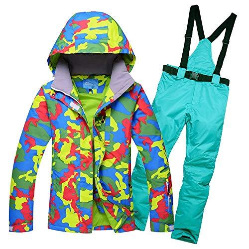 JKHOIUH Frauen-Schnee-Jacken Damen Skianzug-Sets weiblichen Snowboard Bekleidung Outdoor Sports Kostüme Skihose for Kinder wasserdichte Jacke (Farbe : 10, Size : S)