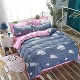 AMDXD Juego de ropa de cama de 4 piezas, diseño de nubes azules y rosas, suave y cómoda (1 funda de edredón de 200 x 230 cm, 1 sábana de 230 x 230 cm, 2 fundas de almohada de 48 x 74 cm)