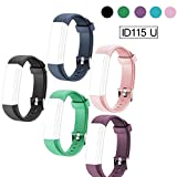 ID115U Replacement Bands, REDGO ID115U ID115UHR Replacement Fitness Tracker Band, Black Blue Teal Pink Purple