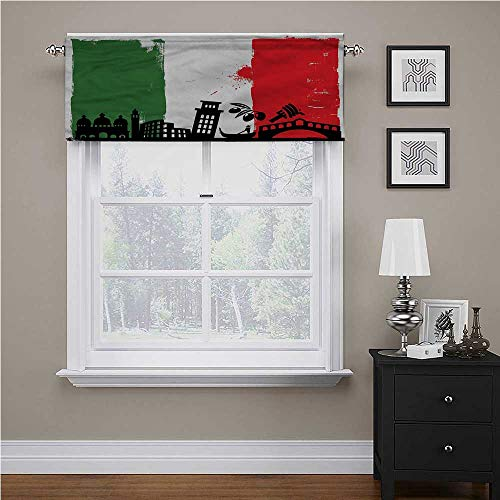 Curtain Valance Italian Flag, Grunge Pop Art Venice Insulated Kitchen Curtain Valances Great for Your Laundry Room, 54 x 12 Inch