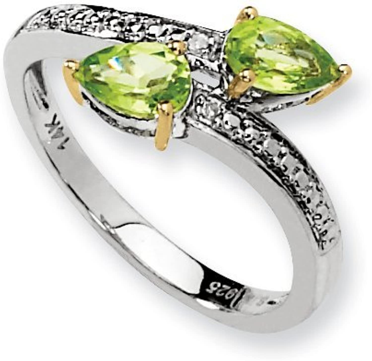 colord Gemstones Sterling Silver & 14K Peridot Diamond Ring