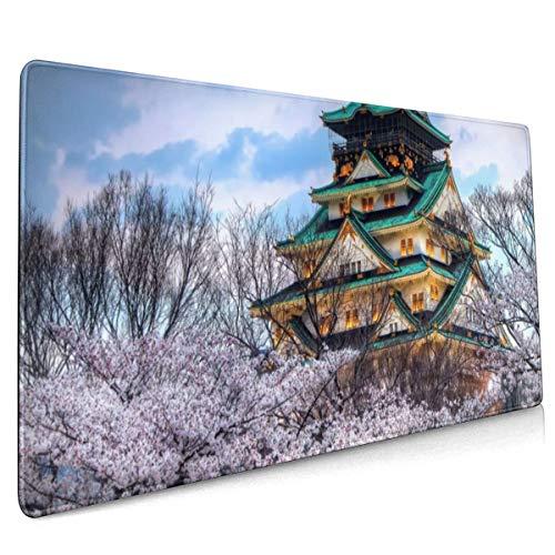 Cherry Blossom Aziatische Bouwen Boom Bouwen Muis Pad Niet Slip Rubber Grote Gaming Toetsenbord Mat 15.8x35.5 In