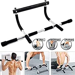 Turns any doorway into a personal gym; installs in seconds. Ideal for pull-ups, push-ups, chin-ups, dips, crunches, and more Uses leverage to hold against the doorway so there are no screws and no damage to door Wide grip curved ergonomic handles off...