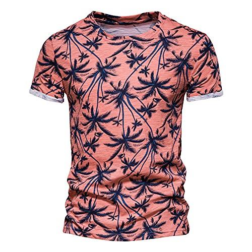 Camiseta Hombre Estampada Cuello Redondo Manga Corta Tendencia Moda Urbana Hombre Estilo Callejero Vacaciones En La Playa Ocio Camisa Verano Hombre A-Orange L