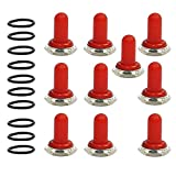 ESUPPORT Red 12mm Rubber Rocker Toggle Switch Knob Hat Waterproof Boot Cover Cap Dustproof Oil Resistant Pack of 10