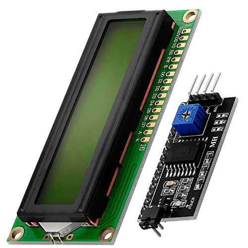 AZDelivery HD44780 1602 16x2 Serial LCD Black Character Green Backlight Display Board IIC PCF8574T I2C Adapter Converter Bundle Compatible with Arduino Raspberry Pi Including E-Book!