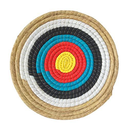 KAKINA 45 45 cm Runder Bogenschießenzielscheiben,Traditionelles Handgemachtes Solides Stroh Bogenschießen Zielscheibe Shooter Bogen-Bogenschießen-Ziel Outdoor