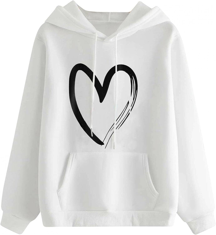 Toeava Hoodies for Women, Women's Casual Fashion Heart Print Thermal Comfy Hoodie Sweatshirt Long Sleeve Top with Pocket