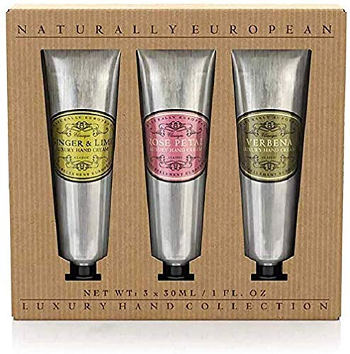 Naturally European Luxury Hand Cream Rose, Verbena, Ginger & Lime Moisturising Hand Cream Gift Set 3 X 30ml | Hand Cream for Very Dry Hands, Gift Sets, Gift Set women, Hand Cream Women