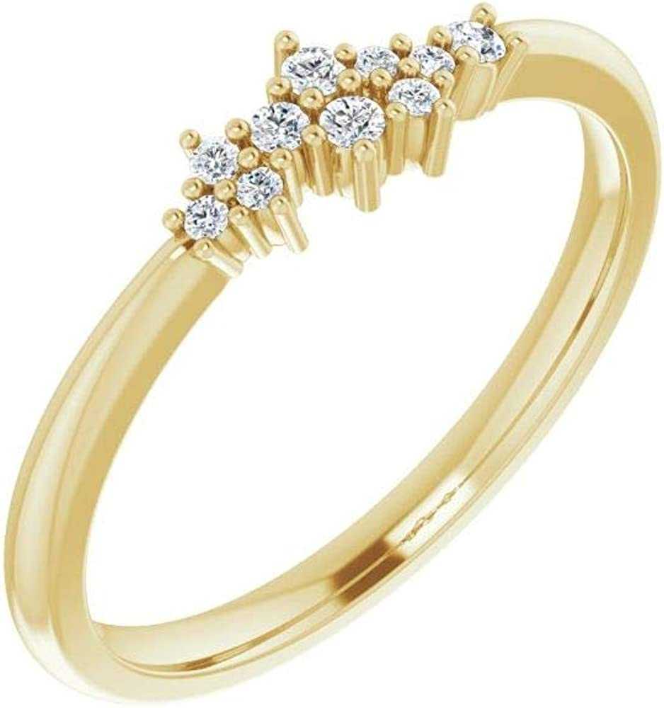 Solid 14k Yellow Gold .08 Cttw Diamond Stackable Wedding Anniversary Cluster Ring Band (Width = 4.3mm) - Size 8