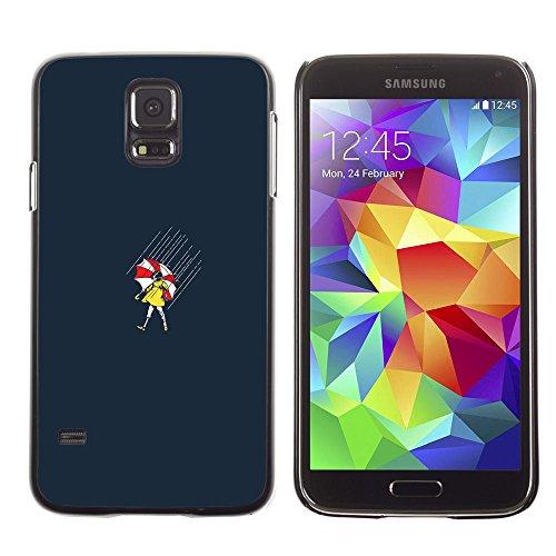 // PHONE CASE GIFT // Duro Estuche protector PC Cáscara Plástico Carcasa Funda Hard Protective Case for Samsung Galaxy S5 / Rainy Girl Umbrella /