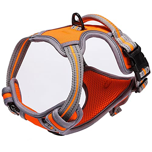 No Pull Dog Harness Reflective Breathable Easy Control Dog Vest Harness with Handle for Training and Everyday (Orange, L)