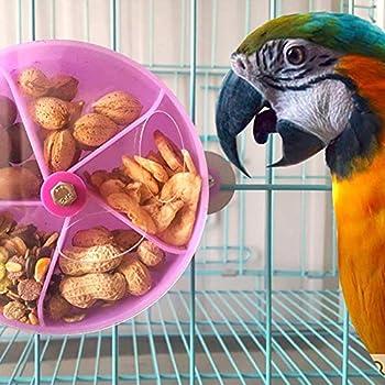 Ogquaton Pet Bird Perroquet Cage Dispositif d'alimentation Jouet Rotatif à Roues Rondes en Plastique Boîte de Nourriture Violet Durable et utile