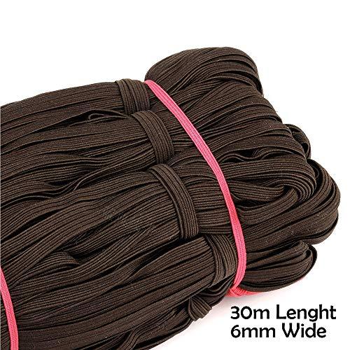 Braided Elastic Band, 33 Yards Length 1/4 Inch Width Elastic Rope Elastic Cord Heavy Stretch High Elasticity Knit Elastic Band for Sewing Crafts DIY, Bedspread, Cuff (Color 3)