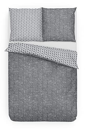 Träumschön Bettwäsche 135x200 4teilig   Wende Bettwäsche 135x200 4teilig Grau und Punkte   Biber Bettwäsche 4tlg aus 100% Baumwolle