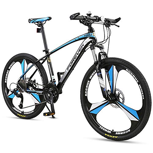 Mountain Bike da 26 Pollici Hardtail Mountain Bike per Adulti Mountain Bike Bicicletta a Sospensione Integrale MTB Biciclette 3 Raggi 27 Marce Freni a Doppio Disco Bicicletta da Montagna,Blu