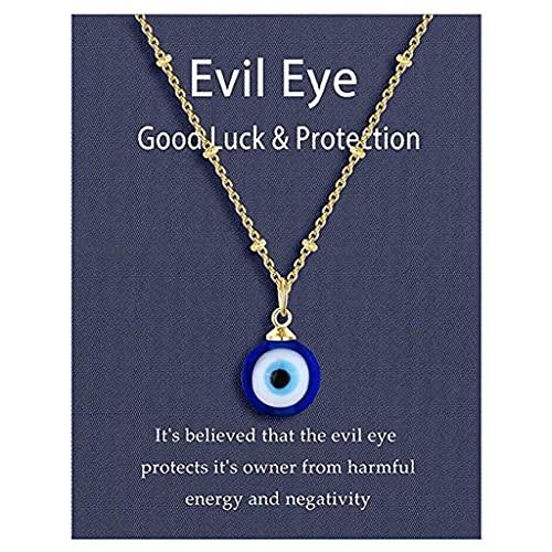 Xuebai Runde Tropfenform Böser Blick Anhänger Halskette Goldene/Silberne Kette Türkisch Schützen Glückskette für Frauen Männer Geschenke Augen Halskette Gold