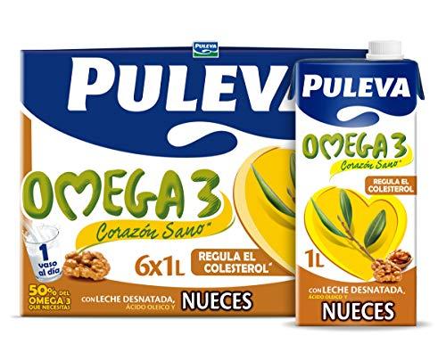 Puleva Omega 3 Leche con Nueces, 6 x 1L