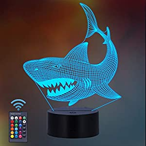Shark Gifts, Shark Fan 3D Night Light 16 Colors Changing Night Lamp for Kids with Remote Control, 3D Illusion Lamp Birthday Gifts from Age 2 3 4 5 6+ Years for Boys Girls Men Women