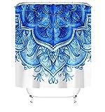 MundW DAS DESIGN Duschvorhang Mandala Pflanzen Textil Blumen Boho Vorhang Schimmelresistent Flora hellblau Blätter Orientalisch Stielvoll inkl. 12 C-Ringe Gewicht unten 180x200cm(BxH)