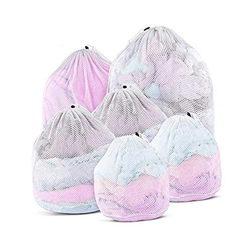 YCYUYK Bolsa de lavandería de malla para lavadora, con cordón, bolsa de lavandería, paquete de 6