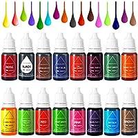 Colorante Alimentario Liquido Food Dye Coloring Set 16x11ml, Alta Concentración Líquido Set Para los Bebidas,Reposteria,Pasteles Alimentoss y Sime Colorear-16 Colores