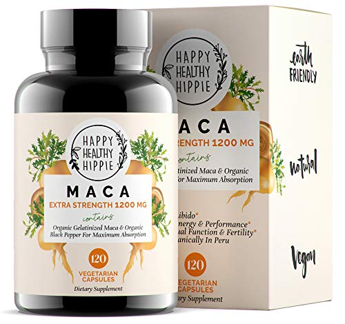 Organic Maca Root Powder Capsules – 1200mg – Powerful Natural Energy from Peru – Improve Passion Performance for Men and Women – Gelatinized for Fast Absorption – 120 Maca Pills – Vegan
