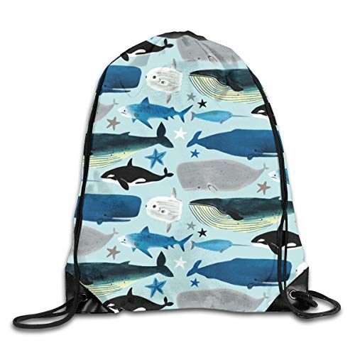 Lawenp Whales and Sharks Drawstring Bag, Sports Cinch Sacks String Drawstring Backpack for Picnic Gym Sport Beach Yoga