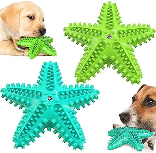 Hund Kauspielzeug, 2 Pack langlebige Seestern Hund Quietsch-Spielzeug für Welpen kleine mittlere und große Rasse Aggressive Kauer, unzerstörbar Tough interaktives Spielzeug für Hund Zähne Reinigung