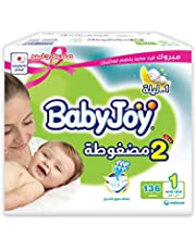 BabyJoy Compressed Diamond Pad, Size 1, Newborn, 0-4 kg, Jumbo Box, 136 Diapers