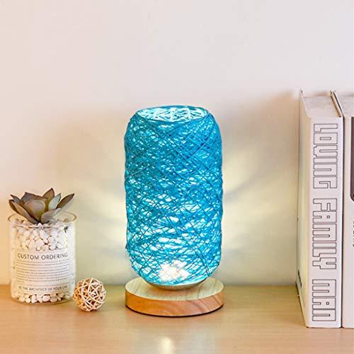 Decoración de Noche luz Recargable Noche LED, bramantes Madera lámpara de Mesa Takraw sólido, Bola cáñamo pequeña lámpara de Mesa, Materia de Fibra Vegetal, eficiente y Uniforme de la luz,Azul