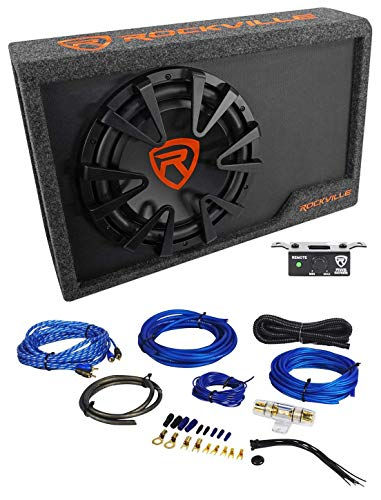 Rockville RWS12CA Slim 1200 Watt 12' Powered Car Subwoofer Enclosure + Wire Kit