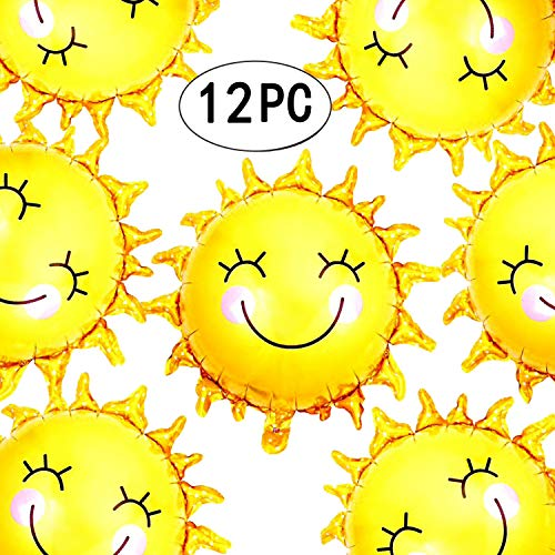 28 inch Summer Sun Smile Foil Mylar Balloons Helium Balloon You are My Sunshine Baby Shower Birthday Party Wedding Decorations, 12pc