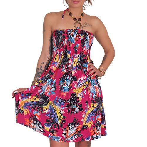 Neckholder Sommer Bandeau Kleid Holz-Perlen Damen Strandkleid Tuchkleid Tuch Aztec (1935-F Pink)
