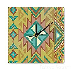 TattyaKoushi Square 12 by 12 Inch Wall Clocks Wooden Aztec Pixel Pattern Interesting Birthday Gifts Home Decor for Office,Living Room,Bedroom,Kitchen