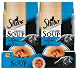 Sheba Classic Soup, Thunfischfilets Katzenfutter als Snack zur Ergänzung, Für den Saucen-Liebhaber, 48 Beutel (12 x 4 x 40 g)
