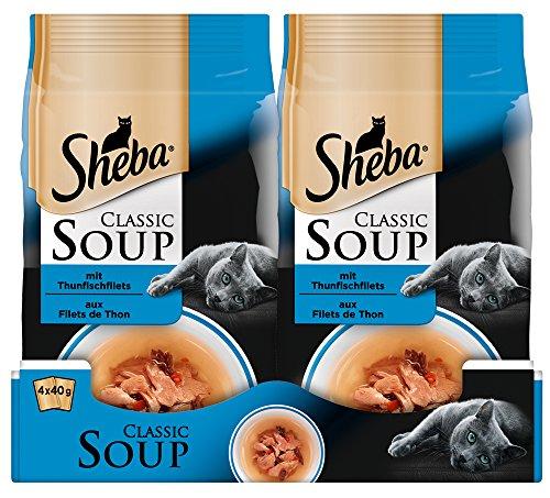 Sheba Classic Soup, kattenvoering als snack ter aanvulling, voor de sauzenliefhebber (12 x 4 x 40 g), tonijnfilets, 48 Beutel (12 x 4 x 40 g)