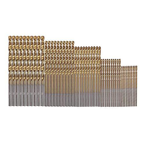 Gobesty HSS Drill Bits Set, 50pcs Twist Drill Bits 1/1.5/2/2.5/3mm High Speed Steel Drill Bits Tools Titanium Drill Bits for Wood Plastic Metal Aluminum Copper
