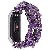 Pulsera de la correa de reloj para MI Band 6 5 4 3 Bandas de reemplazo Correa de perla Accesorios de pulsera Mujer elegante (Color : Purple, Size : Mi Band 4 3)