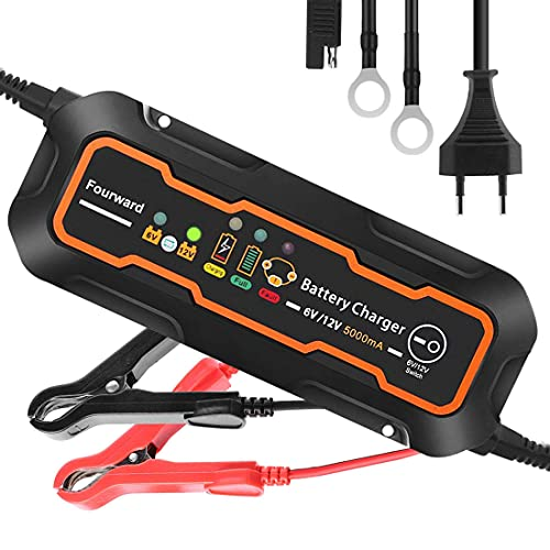 Fourward Batterieladegerät Mit Automatischer Temperaturkompensation,Erhaltungsladegerät Autobatterie Ladegerät 6V/12V 5000mA Smart Autoladegeräte,Notfall Starthilfe für Auto, Motorrad, LKW, PKW