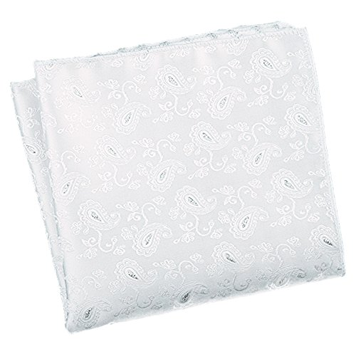 Flairs New York Gentleman's Essentials Weekend Casual White Pocket Square (White/Silver Paisley)