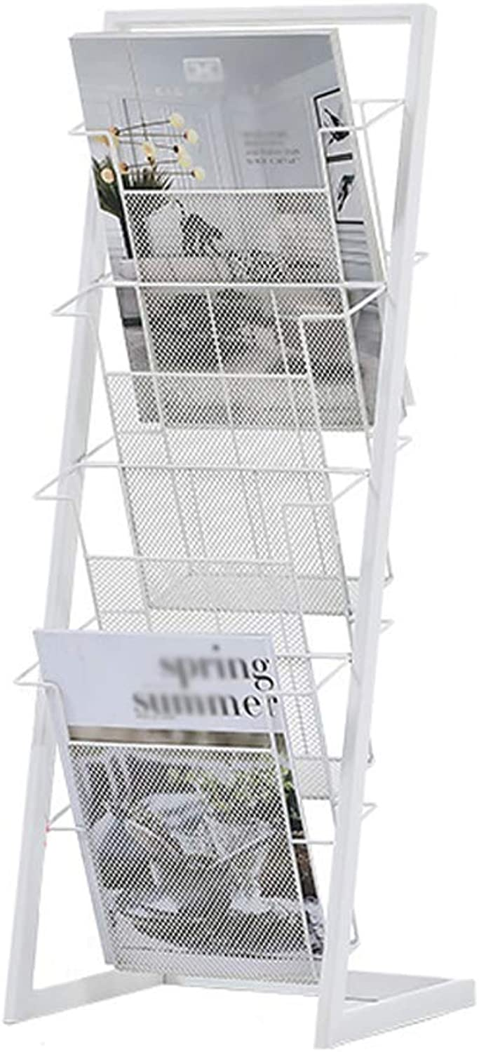 Magazine Rack Nordic Wrought Iron Floor Brochure Rack Newspaper Display Stand-4 Layer L34XW25XH90CM (color   White)