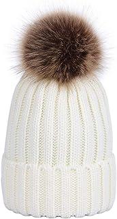 LAUSONS Gorros tejidos bebe niño gorro de invierno con bola grande Pom Pom 0-6 años